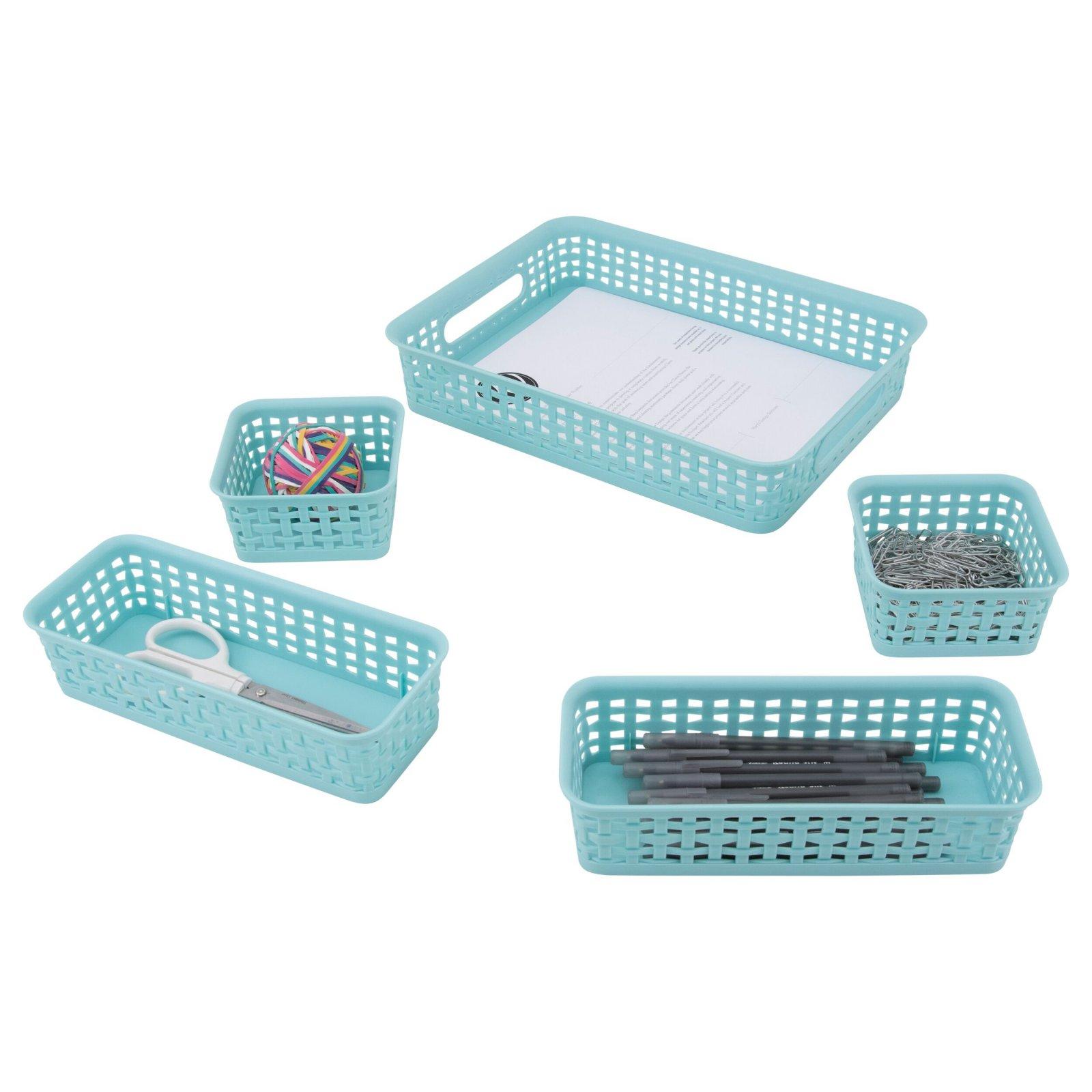 Storage Studios Blue Plastic Weave Bins 5 pk