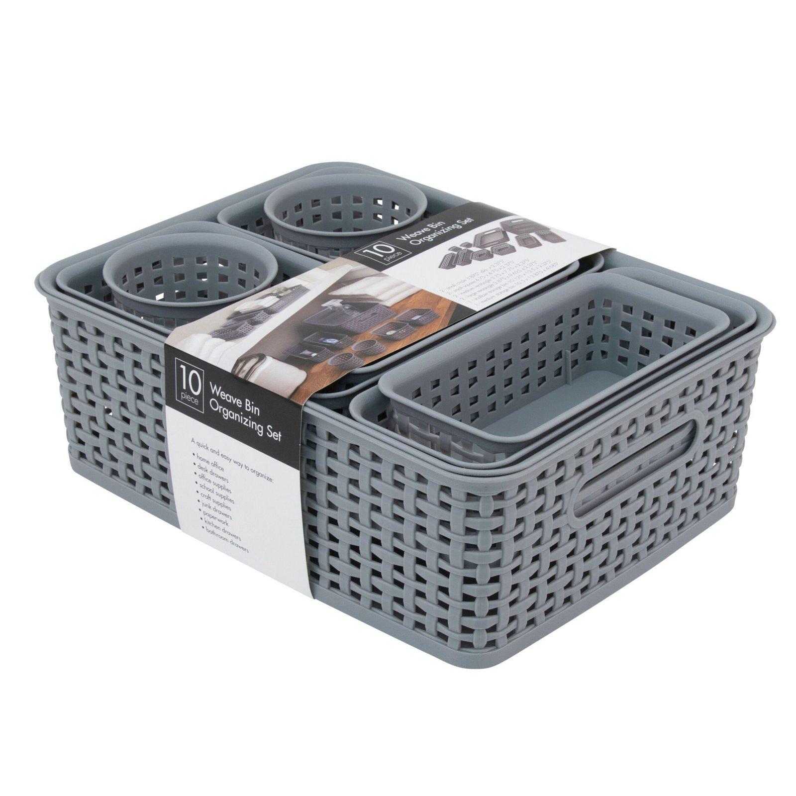 Storage Studios Cool Gray Plastic Weave Bins 10 pk