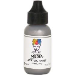 Dina Wakley Media Metallic Acrylic Paint 1oz Sterling