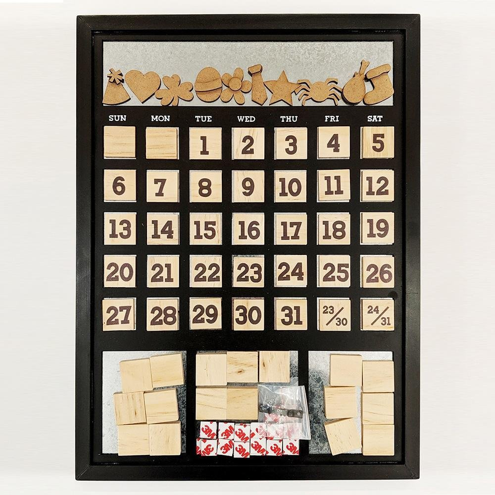 Foundations Magnetic Calendar Frame Black 12x12