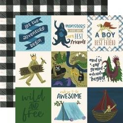 Echo Park Adventure Awaits Double-Sided Cardstock 12X12 4X4 Journaling Cards
