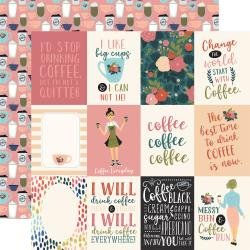 Echo Park Coffee Double-Sided Cardstock 12X12 3X4 Journaling Cards