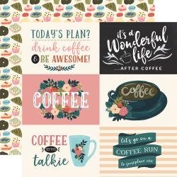 Echo Park Coffee Double-Sided Cardstock 12X12 4X6 Horizontal Journaling Cards