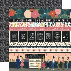 Echo Park Coffee Double-Sided Cardstock 12X12 Border Strips