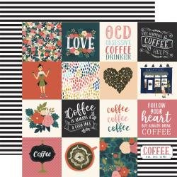 Echo Park Coffee Double-Sided Cardstock 12X12 3X3 Journaling Cards