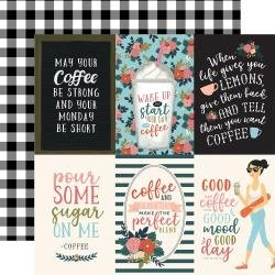 Echo Park Coffee Double-Sided Cardstock 12X12 4X6 Vertical Journaling Cards