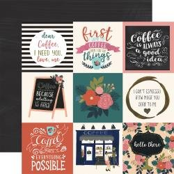 Echo Park Coffee Double-Sided Cardstock 12X12 4X4 Journaling Cards