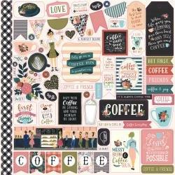Echo Park Coffee Cardstock Stickers 12X12 Elements