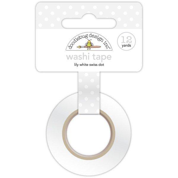 Doodlebug Washi Tape 15mmX12yd Lily White Swiss Dot