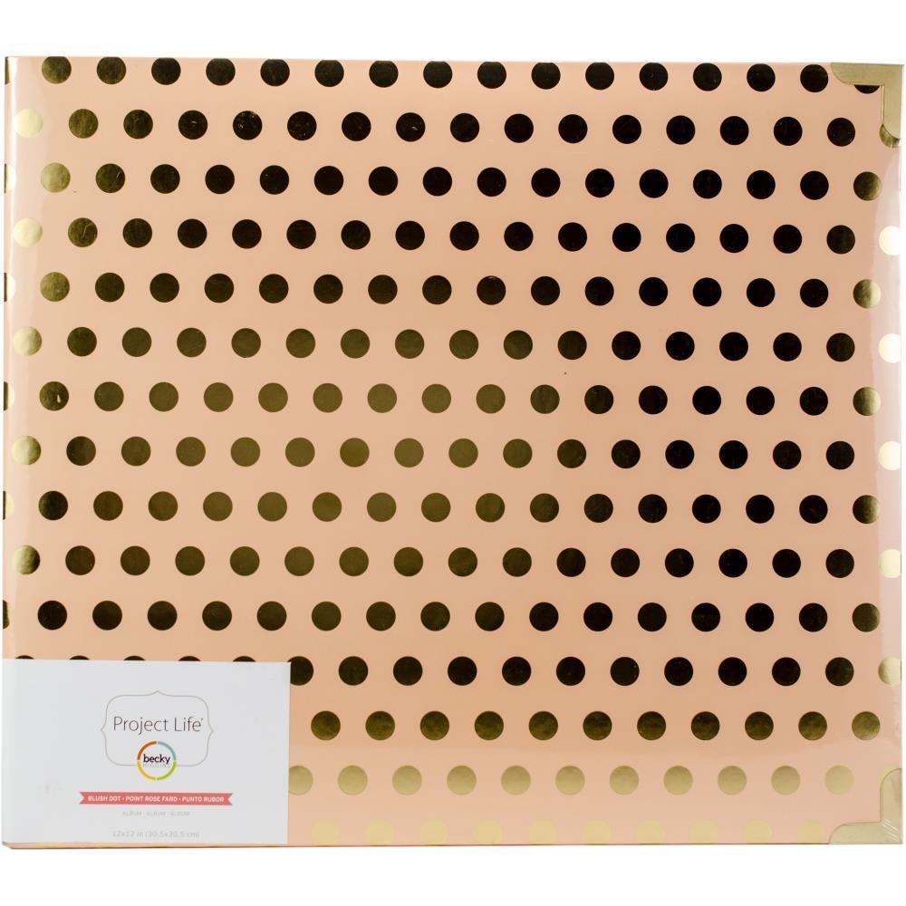 Project Life D-Ring Album 12X12 Blush W/Gold Dots