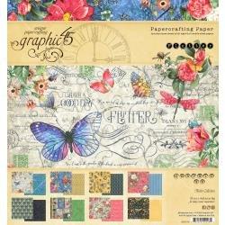 Graphic 45 Double-Sided Paper Pad 8X8 24/Pkg Flutter, 8 Designs/3 Each
