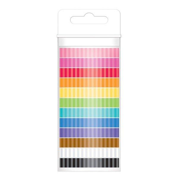 Kraft In Color Washi Tape 8mm, 12yds, 12/Pkg Stripes Assortment