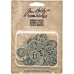Idea-Ology Metal Number Tokens 31/Pkg Antique Silver .75
