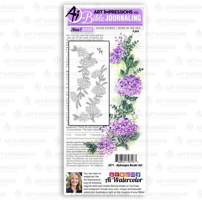 Art Impressions Stamps: Hydrangea Border Set