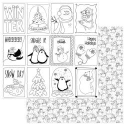 Photo Play Frosty Friends DS CS 12X12 Black & White Color Me Cards