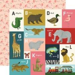 Echo Park Animal Safari Double-Sided Cardstock 12X12  Animal Alphabet Cards A-L