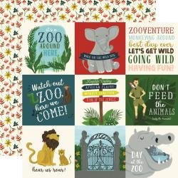 Echo Park Animal Safari Double-Sided Cardstock 12X12 4X4 Journaling Cards