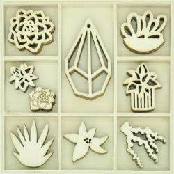 KAISERCraft Themed Mini Wooden Flourishes 45/Pkg Succulents