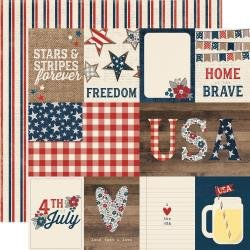 SS Simple Sets Let Freedom Ring Double-Sided Cardstock 12X12 3X4 & 4X6 Journaling Cards