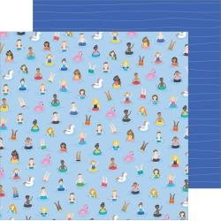 Pebbles Oh Summertime Double-Sided Cardstock 12X12 Taking A Dip