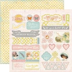 Authentique Dreamy Double-Sided Cardstock Die-Cut Sheet 12X12 Elements