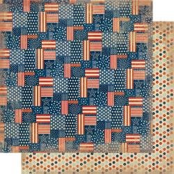 Authentique Liberty Double-Sided Cardstock 12X12 #1 Stars & Stripes Patchwork