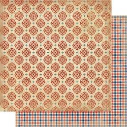 Authentique Liberty Double-Sided Cardstock 12X12 #5 Red Medallions