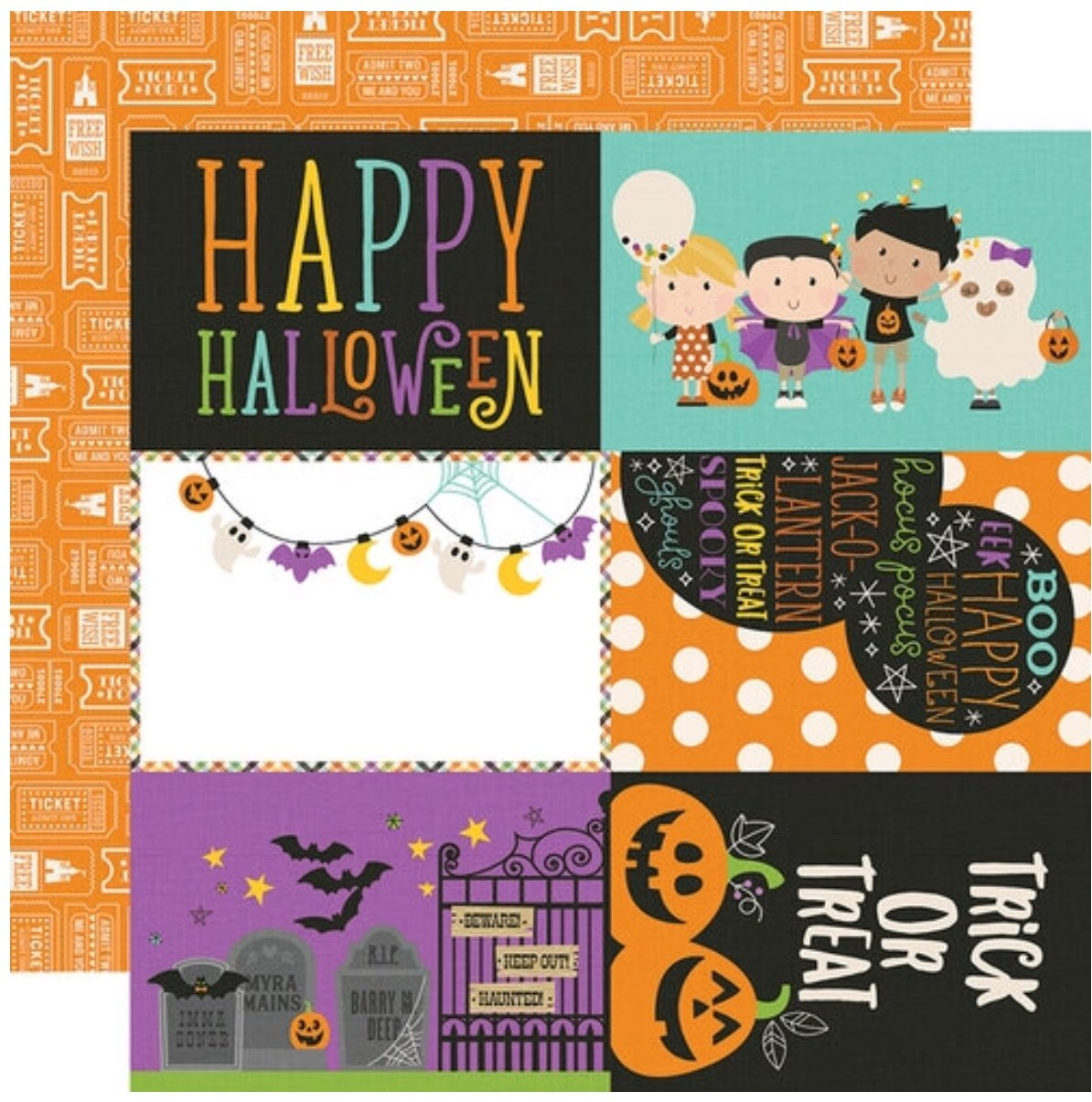 Simple Stories Say Cheese Halloween Double-Sided Cardstock 12X12 4x6 Elements