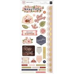 Pink Paislee Again & Again Cardstock Stickers 5.5X12 64/Pkg Accents & Phrases