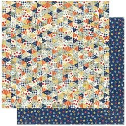 Authentique: Scholastic Double-Sided Cardstock 12X12 #1 Multi Triangle Quilt