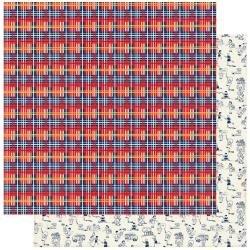 Authentique: Scholastic Double-Sided Cardstock 12X12 #3 Plaid