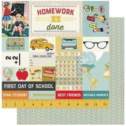Authentique: Scholastic Double-Sided Cardstock 12X12 #7 School Cut-Apart Images