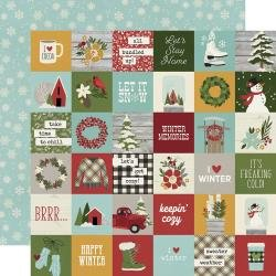 Simple Stories Winter Farmhouse Double-Sided Cardstock 12X12 2X2 Elements