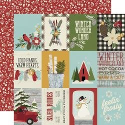 Simple Stories Winter Farmhouse Double-Sided Cardstock 12X12 3X4 Elements