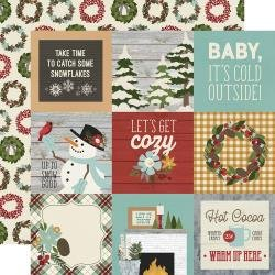 Simple Stories Winter Farmhouse Double-Sided Cardstock 12X12 4X4 Elements