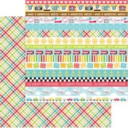 Doodlebug I Heart Travel Double-Sided Cardstock 12X12 Plaid To Be Here
