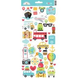 Doodlebug Cardstock Stickers 6X13 I Heart Travel Icons