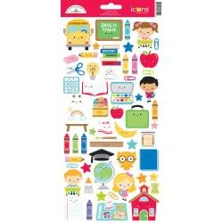 Doodlebug Cardstock Stickers 6X13 School Days Icons