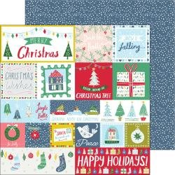 PinkFresh Home For The Holidays Double-Sided Cardstock 12X12 Happy Holidays
