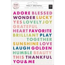 PP Paige Evans Truly Grateful Puffy Stickers 142/Pkg Words