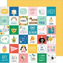 Pebbles Happy Cake Day Double-Sided Cardstock 12X12 Birth-Yay