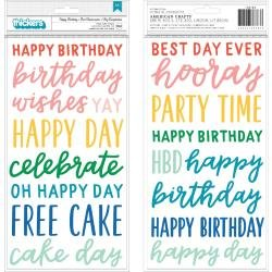 Pebbles Happy Cake Day Thickers Stickers 5.5X11 104/Pkg Phrase/Puffy