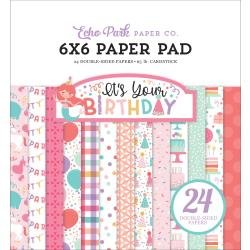 Echo Park Double-Sided Paper Pad 6X6 24/Pkg It's Your Birthday Girl, 12 Designs