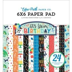 Echo Park Double-Sided Paper Pad 6X6 24/Pkg It's Your Birthday Boy, 12 Designs