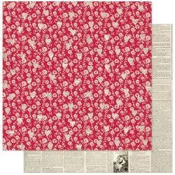 Authentique Love Notes Double-Sided Cardstock 12X12 #1 Red Floral W/Newsprint