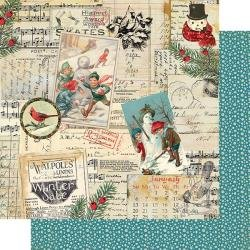 Authentique Snowfall Double-Sided Cardstock 12X12 #5 Newsprint Collage
