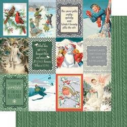 Authentique Snowfall Double-Sided Cardstock 12X12 #8 3X4 Cut-Aparts