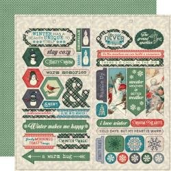Authentique Snowfall Double-Sided Cardstock Die-Cut Sheet 12X12 Elements