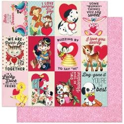 Authentique Love Notes Double-Sided Cardstock 12X12 #8 3X4 Animal Sayings Cut-Aparts