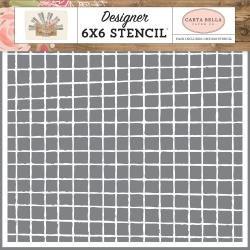 Carta Bella Stencil 6X6 Vintage Grid, Farmhouse Market